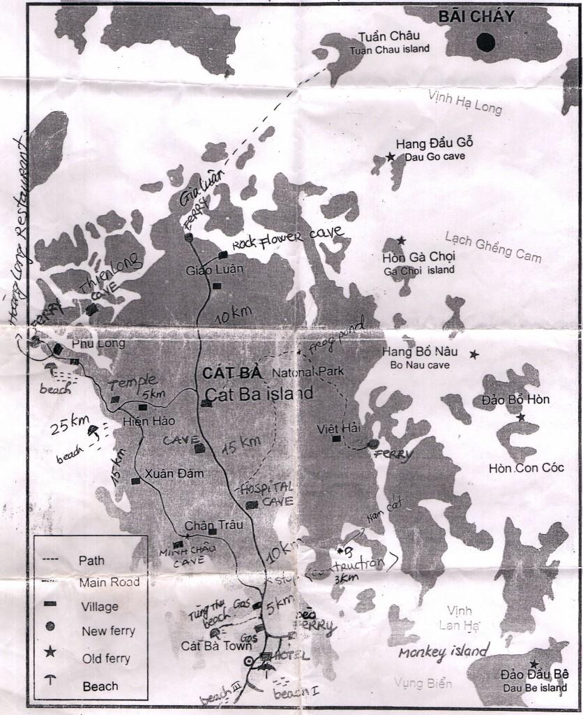 Карта острова Кат Ба