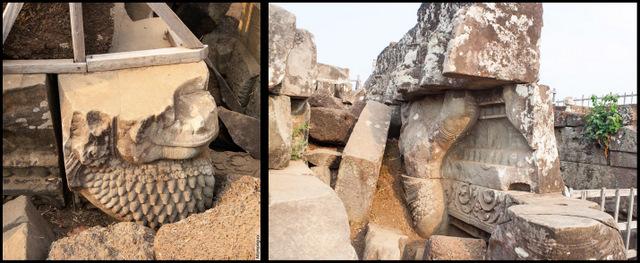 Разрушенная птица-гаруда на вершине пирамиды Пранг