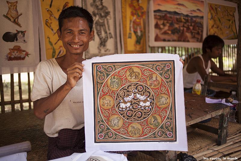 Продавец картин, Мьянма, Баган